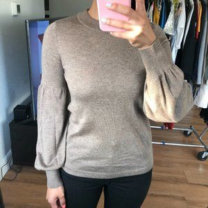 Co Taupe Bell Sleeve Silk Cashmere Crew Sweater